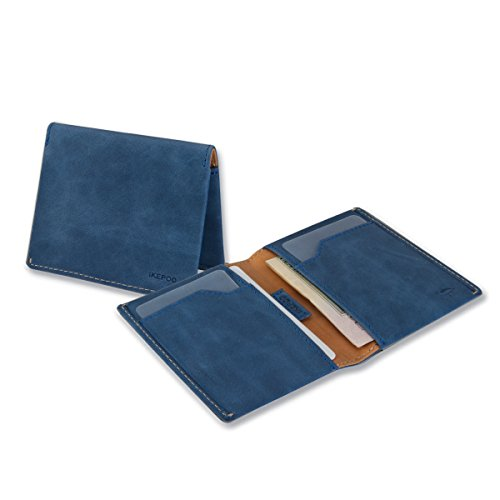 Mens Wallets,Ikepod Italy Leather Slim Sleeve Wallet (6 Colours) [RFID Blocking and Slim Stitching!] (NAVY (Colour Goes Navy Blue)