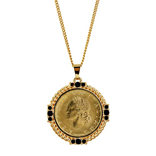 American Coin Treasures Italian 20 Lira Coin Pendant Necklace - Italian 20 Lire Goldtone Pendant with Faceted Round Jet Glass Stones| Italian Medallion ()