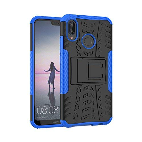 Huawei P20 Lite Case, ZVKVAMT [Air Cushion Thchnology] Heavy Duty Protection and Kickstand Function for Huawei P20 Lite Case (Blue)