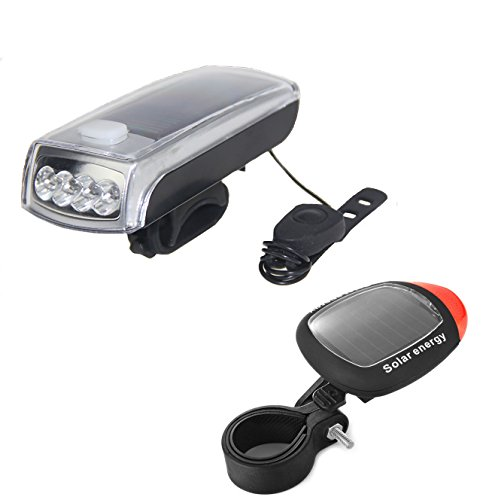 Ultra Bright Bicycle Lights Set - Front Headlights & Horn & Back Taillights, Two(Solar and USB)-in-One Rechargeable LED Bike Front Lights, Waterproof & Safety Road, 1200mAH/1200 Lumens Head Lights. by Juxical (Image #7)
