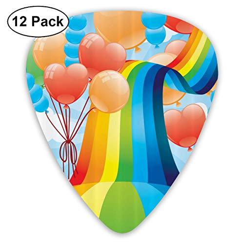 Balloon Rainbow Gay Pride Lgbt Small Medium Large 0.46 0.73 0.96mm Mini Flex Assortment Plastic Top Classic Rock Electric Acoustic Guitar Pick Accessories Variety Pack