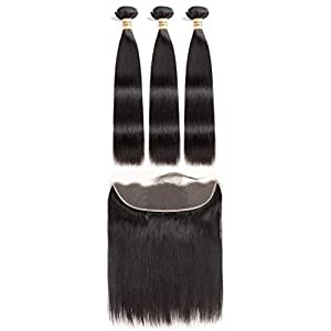 Hair 3 Bundles Human Hair Bundles With Frontal Brazilian Straight Hair Weave Natural Black 100% Remy Hair Extensions…