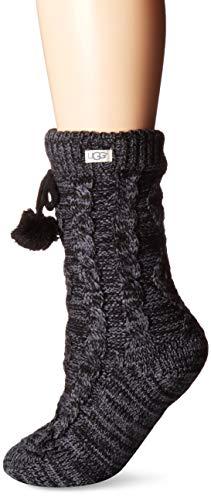 UGG Accessories Women's Pom Pom Fleece Lined Crew Sock, Nightfall, One Size (Sock Fleece)