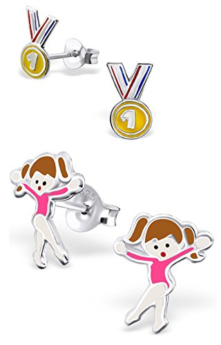 best-wing-jewelry-925-sterling-silver-1st-place-medal-and-sport-girl-set-childrens-stud-earrings-sc0