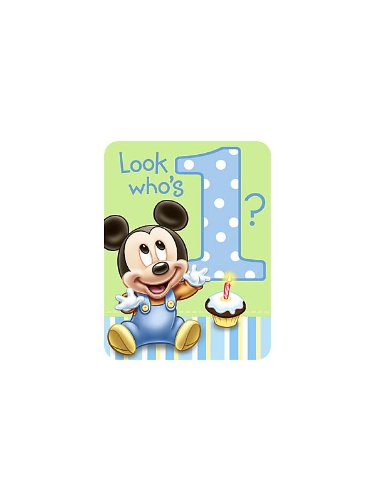 Mickey Mouse 1st Birthday Invitations w/ Envelopes (8ct) (Mickey Mouse 1st Birthday Invitations)