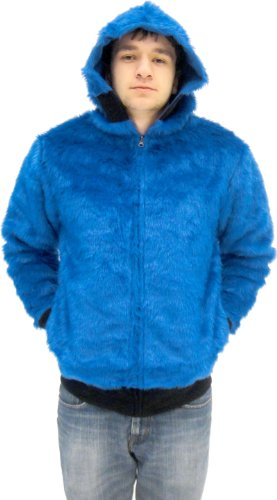 Sesame Street Cookie Monster Blue Faux Fur Full Zip Adult Costume Hoodie Sweatershirt Jacket (Adult Large)