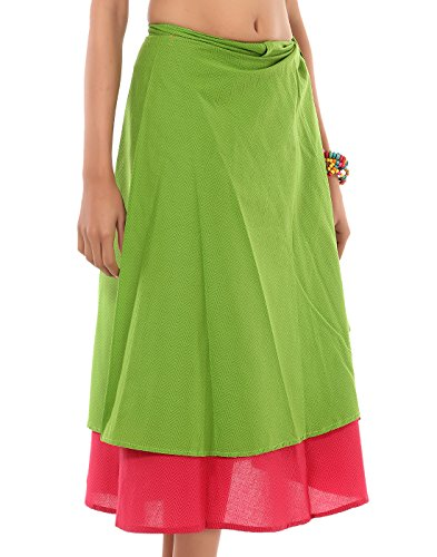 Rajrang Casual Wear Cotton Cambric Printed Zig-Zag Green Wrap Comfort Casual Skirts