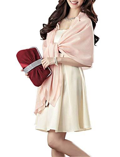Mujer Bufanda Señoras Elegantes Moda Informales Bonita Hipster Hipster Poncho Color Sólido con Lazo Lindo Chic Volantes con Rosario Estolas Chal De Pink