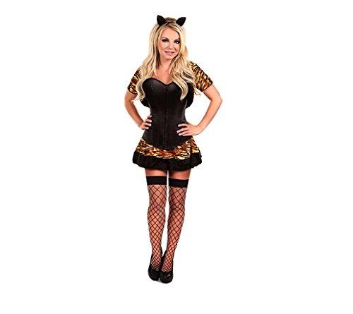 Print Kleid One Damen Black size GGTBOUTIQUE Tiger mehrfarbig Bandeau wTEEqYU