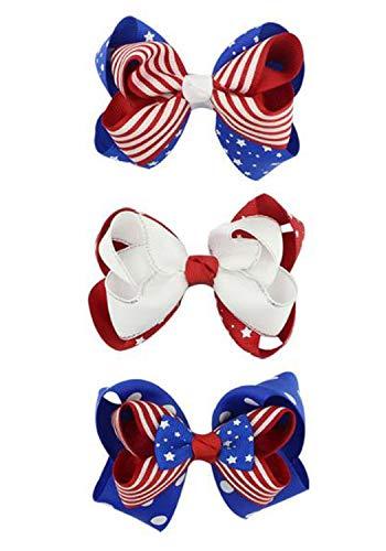 Hair Clips for Women Girls Grosgrain Ribbon Hair Bows Clip Accessories 3 Pack TS-FJ04 (Set 3) (Hair Stripe Bow)