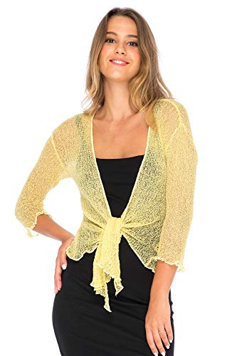Back From Bali Womens Lightweight Knit Cardigan Shrug Lite Sheer Sweet Yellow
