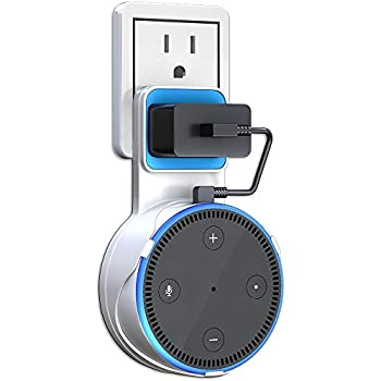 Echo Dot Wall Mount, ATOOZ Outlet Shelf with Charging Cable for Dot 2nd Generation, Space-Saving Alexa Accessories for Your Smart Home Speakers without Messy Wires or Screws (White)