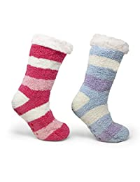 B&CO (2) & (1) Pair Pack Women's Sherpa Lined Slipper Socks with Anti-Skid Grippers