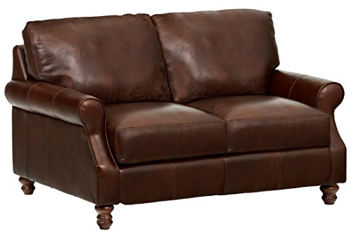 Stone & Beam Charles Classic Oversized Leather Loveseat, 63″W, Walnut For Sale
