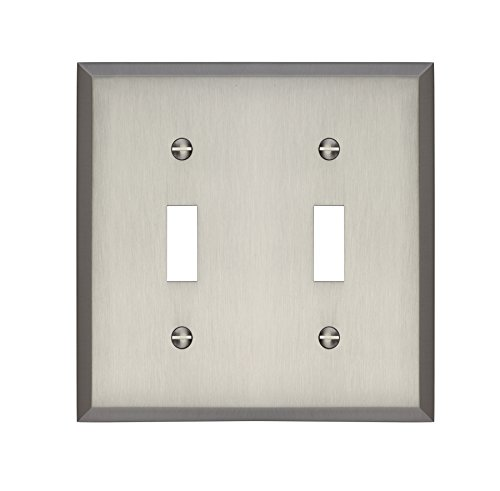 (MAYKKE Graham Double Light Switch Cover 2 Toggle Premium Solid Brass Wall Plate Cover for Light Switches 5 Color Finishes to Choose from, Brushed Nickel, ALA1010203)