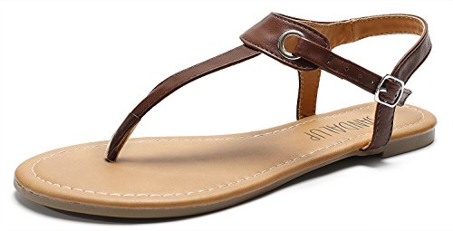 SANDALUP Women's Claire Thong Flat Sandals with Buckle Brown 07 ()