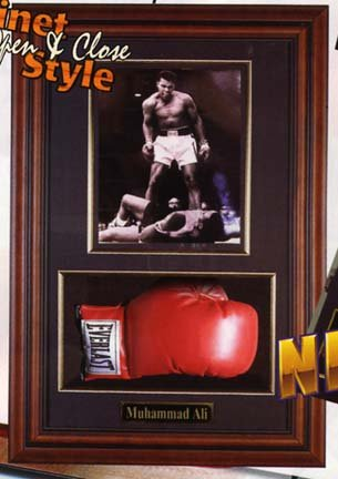 """Boxing Glove and 8"""" x 10"""" Photograph Display Case with Wood Frame"""