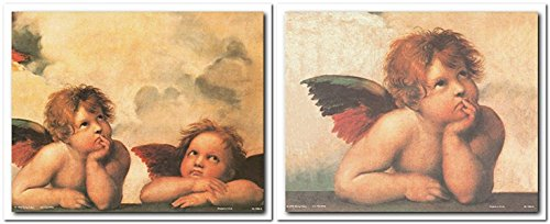 Wall Decor Pictures Art Print Raphael Winged Cherubs On Elbows Little Angel of Sistine Madonna Religious Two Set 8x10 Posters