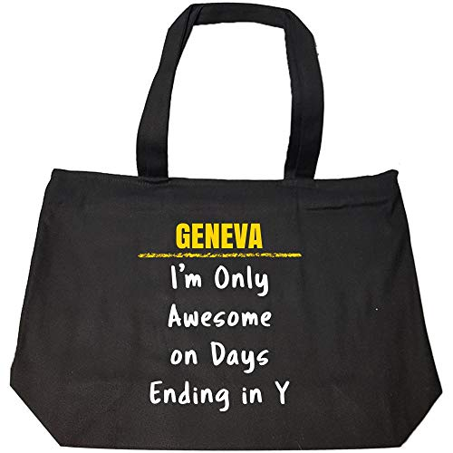 GENEVA Only Awesome on Days Ending in Y Sarcastic Funny Saying Name Pride Gift - Fashion Zip Tote ()