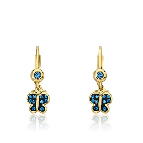 Molly Glitz Shine Bright 14k Gold-Plated Blue Butterfly Dangle Leverback Earring With Light Blue Sapphire Crystals