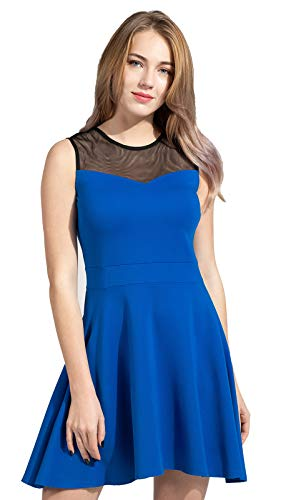 Sylvestidoso Women's A-Line Sleeveless Pleated Little Blue Cocktail Party Dress with Black Mesh (M, Blue) -