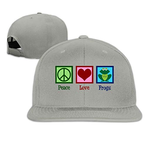 Peace Love Frogs Trucker Hat Adjustable Men's Solid Flat Bill Baseball Cap Gray