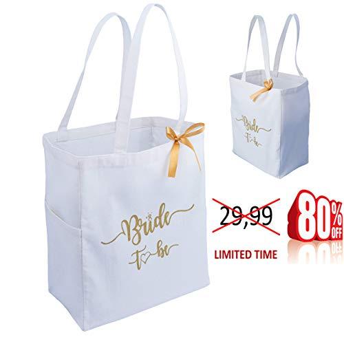 Customoffi White Bridal Tote Bag - Best for Wedding, Beach, Honeymoon, Bridal Shower - Timeless Design with Ribbon and Pocket