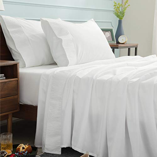 Bedsure Bed Sheets Set - White King Sheets - Soft Brushed Microfiber, Wrinkle Resistant Bedding Set - 1 Fitted Sheet, 1 Flat Sheet, 2 Pillowcases (King, White)