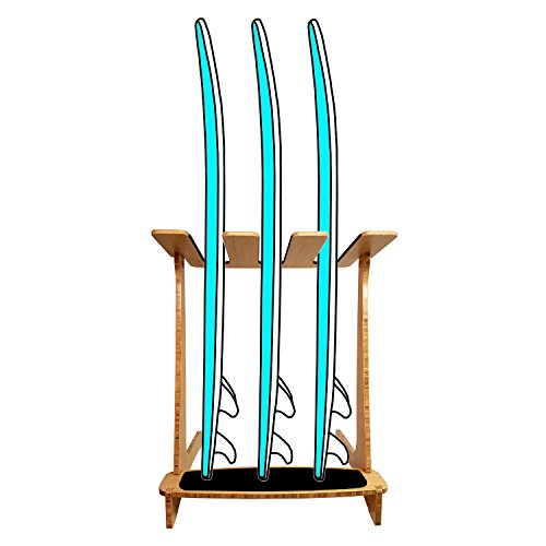 Grassracks Bamboo Freestanding Vertical Surfboard Rack for 3 Surfboards Snowboards or Wakeboards by Grassracks