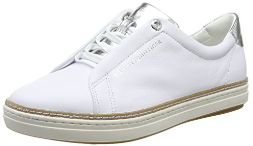 Femme white Sneaker City Hilfiger Sneakers Tommy 100 Blanc Basses Leather xAqUxwpf