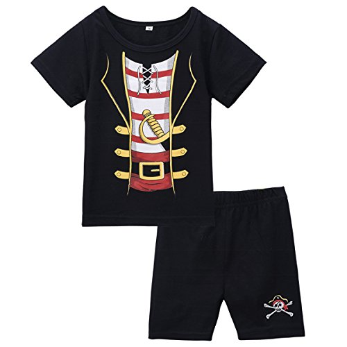 [Mombebe Baby Boys' 2 Pieces Pirate Costume Short Set (18-24 Months, Pirate)] (Toddler Boys Pirate Costumes)