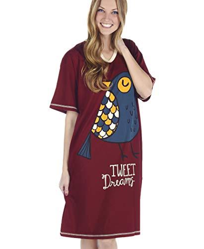Tweet Dreams Women's Animal Pajama Nightshirt by LazyOne   Warm Cabin Nightshirt (ONE Size)