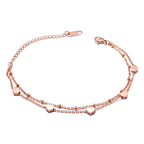 Rose Gold Stainless Steel Bracelet - Mintik Girls Heart Adjustable Bracelet Anklet Stainless Steel Rose Gold Color Two Layer Link Chain Charm Wristband Bangle Bracelet