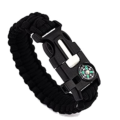Survival Paracord Bracelet - 5-In-1 Outdoor Paracord Survival Kit: Parachute Cord, Buckle with Compass, Fire Starter, Whistle & Emergency Knife Scraper?pack of 2?