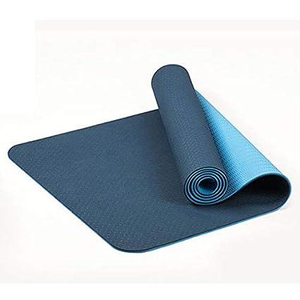 Cikuso 6Mm Esterilla de Yoga Antideslizante de Dos Colores TPE Estera Deportiva 183X61Cm Estera Sin Sabor de Fitness En Gimnasio Casa Negro