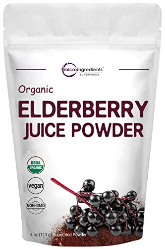 Certified Organic Elderberry Juice Powder, 4 Ounce, Rich in Immune Vitamins, Strongly Supports Immune System, Energy and Vascular Health, No GMOs and Vegan Friendly