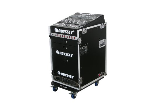 Odyssey FZ1316W Flight Zone Ata Combo Rack With Wheels: 13u Top Slant, 16u Vertical