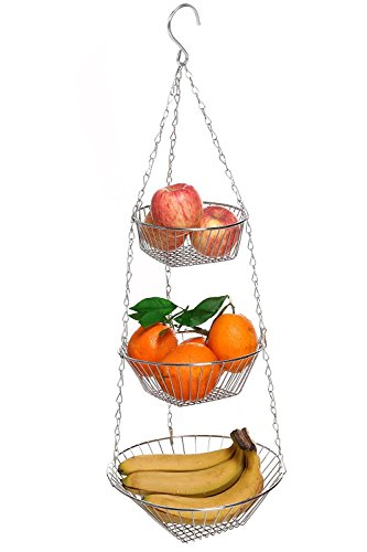 Dtemple 3-Tier Wire Hanging Basket Fruit Basket,Kitchen Vege
