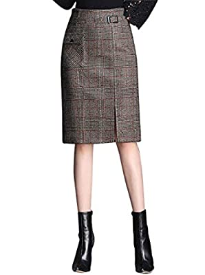 Wincolor Women's High Waisted Wool Blend Plaid Checked Front Slit Straight A-line Midi Tartan Skirts