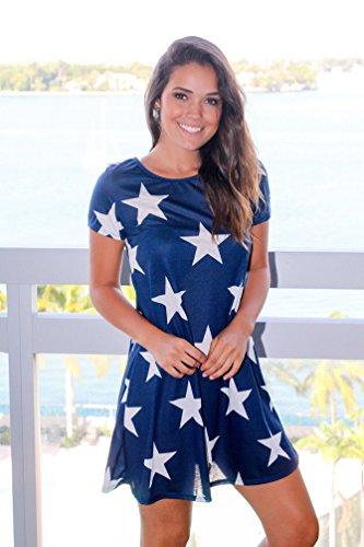 WanYang Mujeres De Cuello Redondo Vestidos Star Dress Imprimir Vestido Mujeres Manga Corta Vestido De Playa Azul