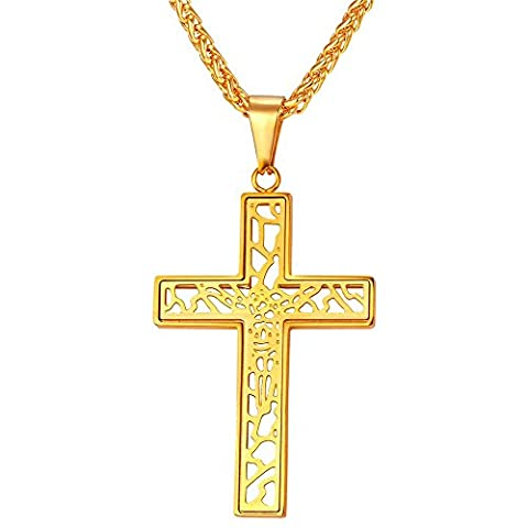 U7 Vintage Design Cross Pendant 18K Gold Plated Chain Crucifix Necklace (Gold Cross Necklace 20 Inch)