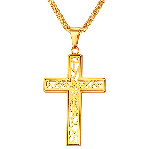Steel 18k Cross Stainless (U7 Catholic Cross Pendant 18K Gold Plated Chain Crucifix Necklace)