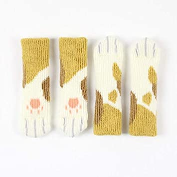 Amazon.com: ForShop 4PCS Lovely Knitting Chair Socks Cat Footprints ...