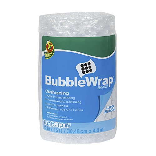 Duck Brand Bubble Wrap Cushioning  Large Bubbles  12 Inches X 15 Feet  Single Roll  1304499
