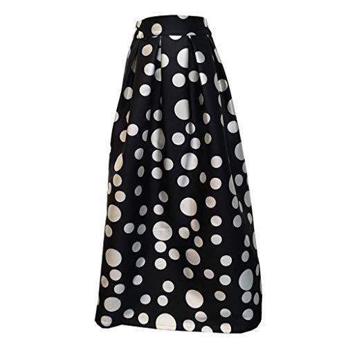 Riuda Women's Skirt Party Cocktail Summer Women Dot Printed High Waist Full-Skirt Skirt Black ()