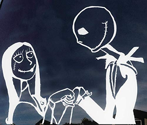 Jack and Sally Skellington 2 in love, nightmare before christmas, romantic, scary, Halloween decal sticker car truck laptop macbook windows 8 inches white ()