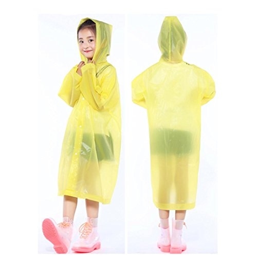 Tpingfe Portable Reusable Raincoats Children Rain Ponchos For 6-12 Years Old, 1PC (Yellow) by Tpingfe (Image #1)