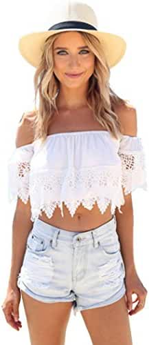 BOSSAND Women's Cute Sexy Lace Off Shoulder Crop Shirt Tops