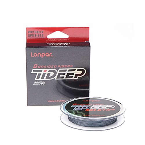 LONPAR Premium Braided Fishing Line 8 Strands 20LB - 119LB Highly Sensitivity and Zero Stretch Braided Line for Saltwater and Freshwater