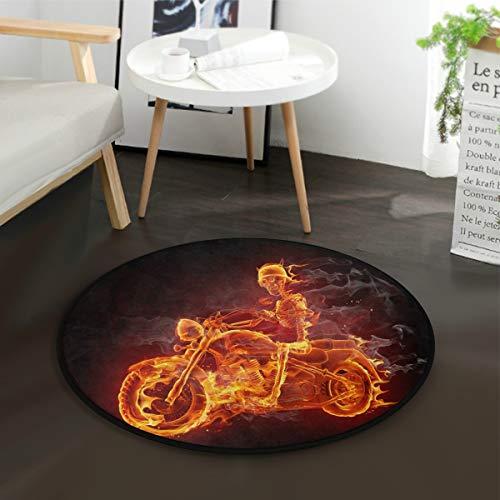 ALAZA Fire Sugar Skull Skeleton Riding Motorcycle Round Area Rug for Living Room Bedroom 3' Diameter(92 cm)